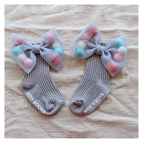 Socke Neugeborene Mädchen Socken mit großen Bögen Kleinkinder Baumwoll-Knöchelsocken für Kinder Mädchen Prinzessin Socke Nette Kinder Socken Bewegung ( Color : Gray Gray Bows , Size : 0 2 Years )