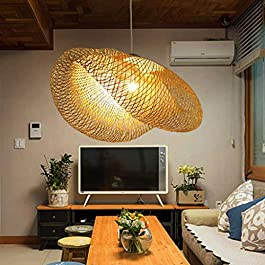 Lustre E27 Suspension Tissage Intérieur Vintage Bambou Naturel Luminaire Plafonnier Suspendue Hauteur Réglable Créations…
