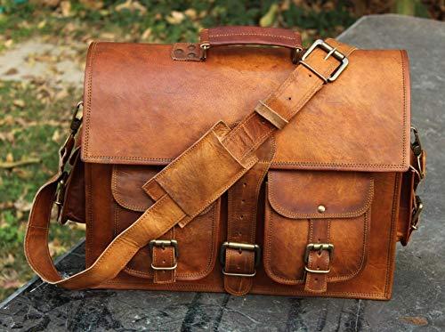 DArk brown 16' hand krafted ND Inch Vintage Handmade Leather Messenger Bag for Laptop Briefcase Satchel Bag