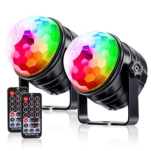 LKESBO Disco Ball Light Party Strobe Lights Sound Activated Christmas Lights RGB LED Birthday 2 Pack 7 Color with Remote Control Lamp Portable DJ Light Party Lighting for Home Wedding New Year