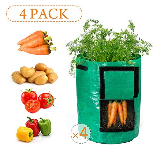 Todoing Garden Potato Grow Bag, 4Pack10Gallon Grow Bags with Access Flap and Handles for Harvesting Potato, Carrot, Onion, tomata,Vegetable and Flower.