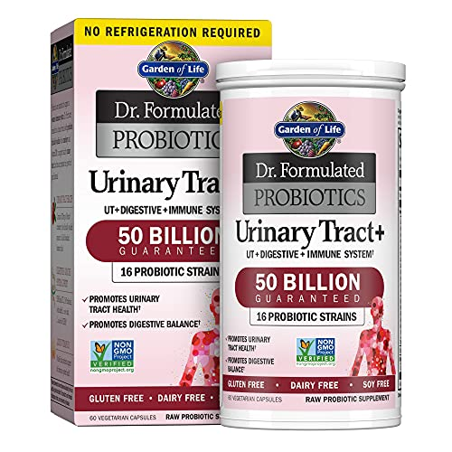 Garden of Life - Dr. Formulated Probiotics Urinary Tract+ - Acidophilus Probiotic Supports Urinary Tract Health, Digestive Balance - Gluten, Dairy, and Soy-Free - 60 Vegetarian Capsules