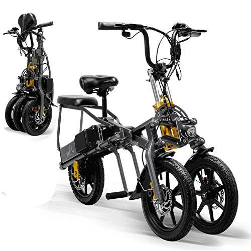 A&DW Mini Eléctrico Triciclo Plegable Triciclo 14 Pulgadas, Eléctrico Portátil para Adultos...