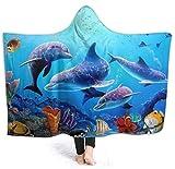 Acuario, delfín, Peces y Algas, mar Azul, Mantas con Capucha, Manta de Felpa de Franela, Manta de Tiro de Felpa, Mantas térmicas Ligeras, Guay, Divertido, Estampado 3D, usable