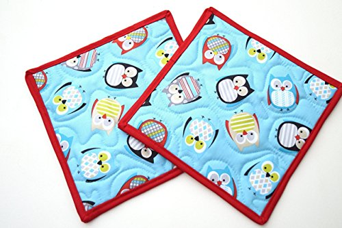 Cute Owl Quilted Pot Holders Set