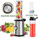 Personal Blender, Slaouwo Adjustable Speed Blender with 300W Base, 4 Stainless Blades, 20 Oz BPA-Free Portable...