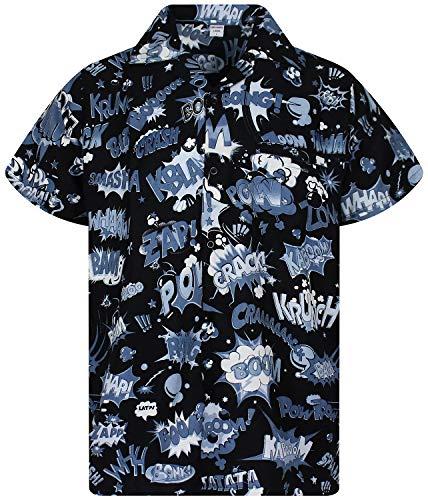 Funky Camisa Hawaiana, BoomBang, monoblack, XS