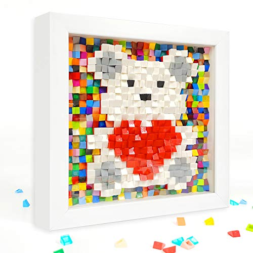 QIUXQIU 5D Diamond Painting Kits Mosaic Puzzle DIY Arts and Crafts Ideas Decor-Lovely Heart Bear Perfect Gifts for Birthday Anniversary (Heart & Bear-White,UnFrame)