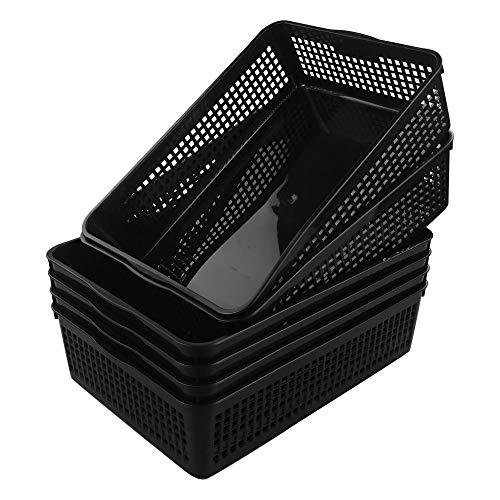 Cadine Cesta de Almacenamiento Rectangular de Plástico, 6 Unidades, Negro
