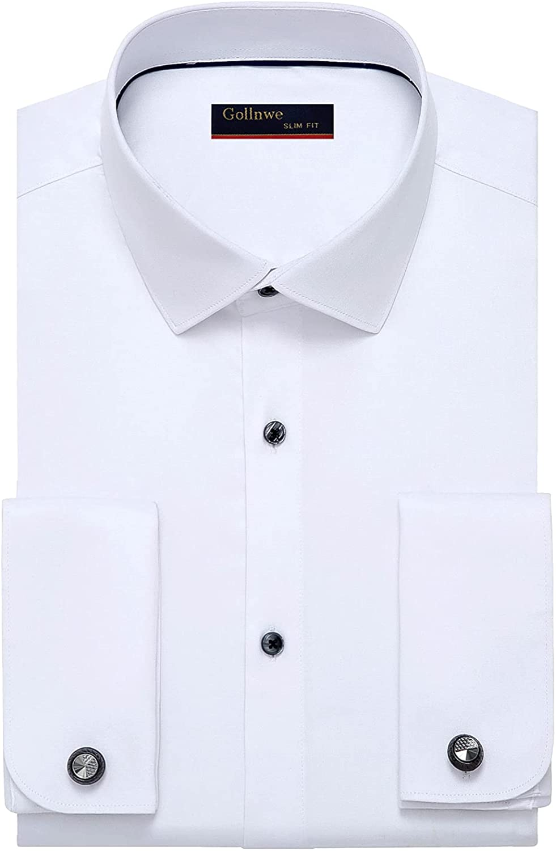Gollnwe Men's Slim Fit French Cuff Stretch Bamboo Solid Dress Shirt