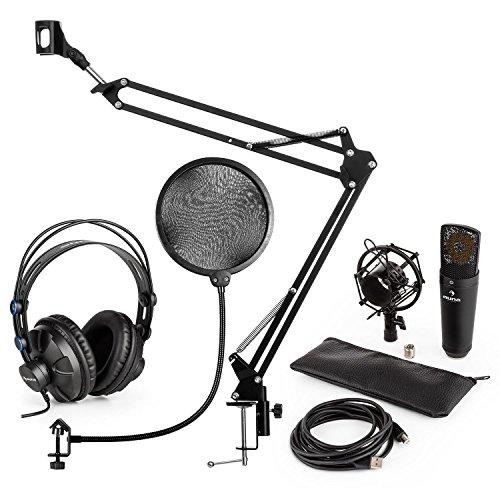 auna MIC-920B USB Mikrofon-Set V4 Studiokopfhörer + Kondensatormikrofon + Mikrofonarm + Pop-Schutz (Over-Ear-Hörmuscheln, USB, 1,5 kg Tragkraft, 35 cm Schwanenhals) schwarz