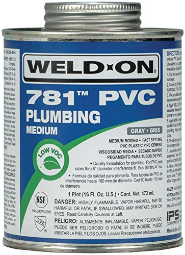 Weld-On 14012 781 PVC Medium-Bodied High-Strength Plumbing Solvent Cement - Fast-Setting and Low-VOC, Gray, 1 Pint (16 fl oz)