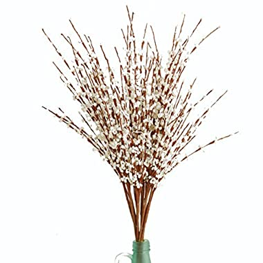 Misswarm 10 Pieces 29.5  Long of Jasmine Artificial flower Artificial flowers Fake Flower for Wedding Home Office Party Hotel Restaurant patio or Yard Decoration(White)
