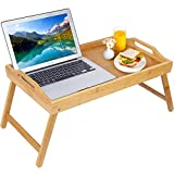 Bed Tray Table Breakfast Food Tray with Handles Folding Legs TV Laptop Platters Serving Tray Wood Kitchen Snack Tray (Beige)(Beige)