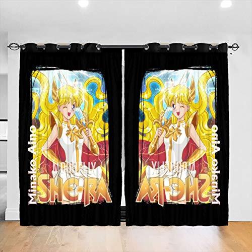 HONGYANW Verdunkelungsvorhänge Segler Venus Minako Aino She Ra Crossover Ösen Thermoisoliert Raumverdunkelung Vorhang für Schlafzimmer Wohnzimmer 132,9 x 182,9 cm, 2 Panels
