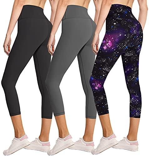 FULLSOFT 3 Pack Capri Leggings for Women Butt Lift-High Waisted Tummy Control Black Workout Yoga Pants (3 Pack Capri Black, Dark Grey,Galaxy,Large-X-Large)