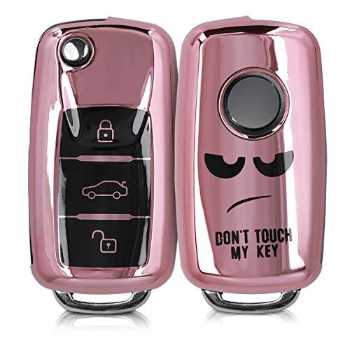 kwmobile Autoschlüssel Hülle kompatibel mit VW Skoda Seat 3-Tasten Autoschlüssel - TPU Schlüsselhülle Cover Don't Touch My Key Schwarz Hochglanz Rosegold