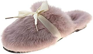 Zquest Work Boots Mens,Autumn and Winter Fashion Baotou Furry Slippers, Flat Comfortable Shoes-Purple_37
