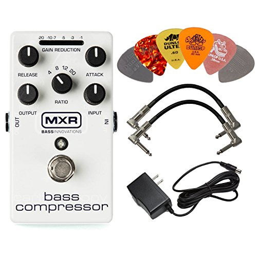 MXR M87 Bass Compressor Effects Pedal BUNDLE with AC/DC Adapter Power Supply for 9 Volt DC 1000mA, 2 Metal-Ended Guitar Patch Cables AND 6 Assorted Dunlop Guitar Picks