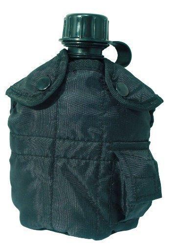 Gourde américaine style armée avec housse en tissu d'extérieur bouteille 0,8 l en différentes couleurs Noir