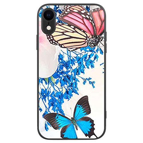 FAUNOW Matte Schutzhülle für iPhone XR, ultradünn, stoßfest, mit Schmetterling, Blau / Rot