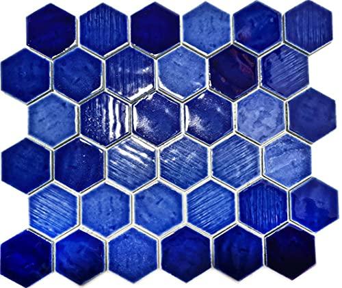 Azulejos de mosaico de cerámica, diseño hexagonal, color azul brillante