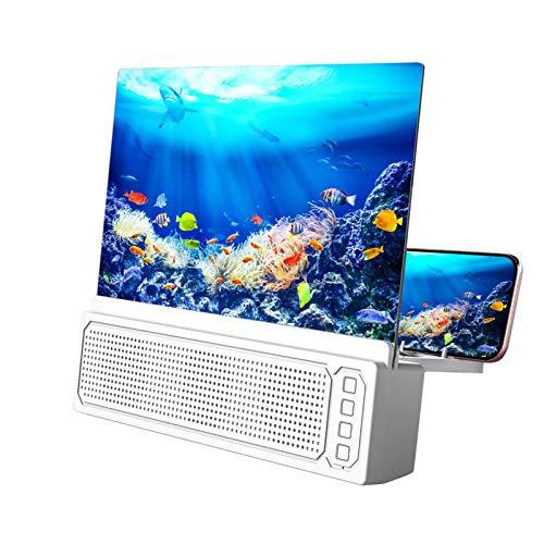 Lupa con altavoz para smartphone, soporte de teléfono con pantalla 3D, altavoz portátil con Bluetooth inalámbrico, diseño plegable ajustable, amplificador de smartphone