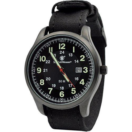 Smith & Wesson Men's Cadet Luminous Watch, 5ATM, Precision Quartz, Black/Green, Durable Canvas Strap, 42mm