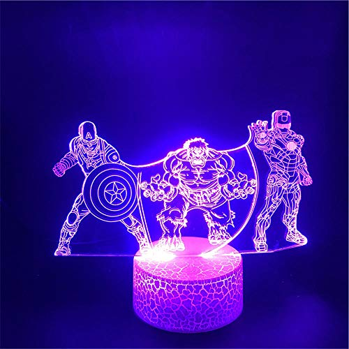 3D Game Control Lamp Night Light 3D Illusion lamp for Kids, Captain America Iron Man Hulk Dimmable Touch Control Brightness Light for Home Decoration and Gifts for Lovers, Parents, Friends, 16 Color