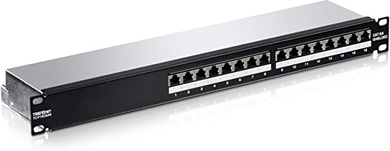 """TRENDnet 16-Port Cat6A Shielded Patch Panel, TC-P16C6AS, 1U 19"""" Metal Housing, 10G Ready, Cat5e/Cat6/Cat6A Ethernet Cable Compatible, Cable Management, Color-Coded Labeling for T568A and T568B Wiring"""