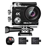 Dragon Touch 4K Action Camera 16MP Vision 3 Underwater Waterproof Camera PC Webcam 170° Wide Angle WiFi Sports Cam with Remote 2 Batteries and Mounting Accessories Kit (Renewed)