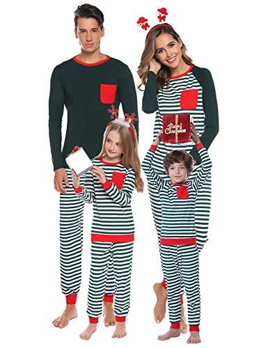 Aibrou Pigiama Famiglia Natale Striscia Set Pigiami Natalizio Famiglia Pigiama Manica Lunga e Pantaloni per papà Mama Ragazzo Ragazza