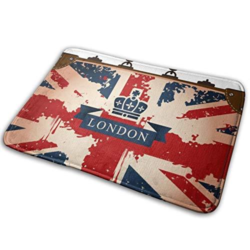 Haoerwu Microfiber Bath Mat Rug,Vintage Travel Suitcase With British Flag London Ribbon And Crown Image,Bathroom Rugs Carpet Non Slip,29.5' X 17.5'