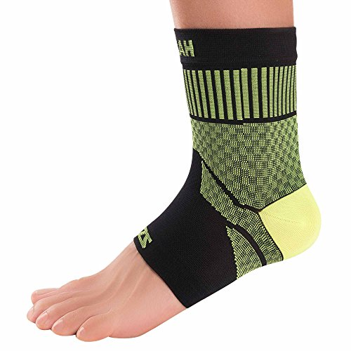 Zensah Ankle Support - Compression Ankle Brace - Great for Running, Soccer, Volleyball, Sports - Ankle Sleeve Helps Sprains, Tendonitis, Pain, Neon Yellow, Small