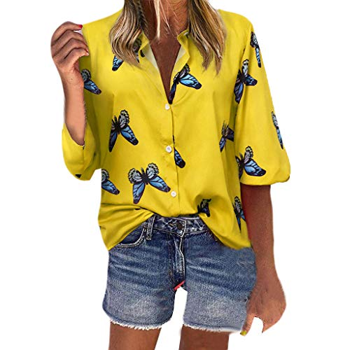 Best Price AHUIGOYCE Womens Long Sleeve Butterfly Print Fashion T-Shirt Blouse Tank Tops Yellow