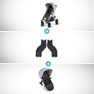UPPAbaby Vista Stroller - William (Chambray Oxford/Silver/Navy Leather) + Upper Adapters + RumbleSeat - William (Chambray Oxford/Silver/Navy Leather)