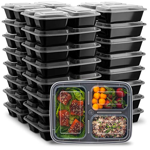 Ez Prepa [25 Pack] 32oz 3 Compartment Meal Prep Containers with Lids -Food Storage Containers BPA Free Plastic, Bento Box, Lunch Containers, Microwavable, Freezer and Dishwasher Safe, Food Containers