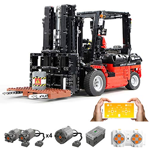 Haunen Technik Bausteine Gabelstapler, 1719Teile 1:10 2.4G Ferngesteuert Gabelstapler mit Motor Bausteine Konstruktionsspielzeug Kompatibel mit Lego Technic