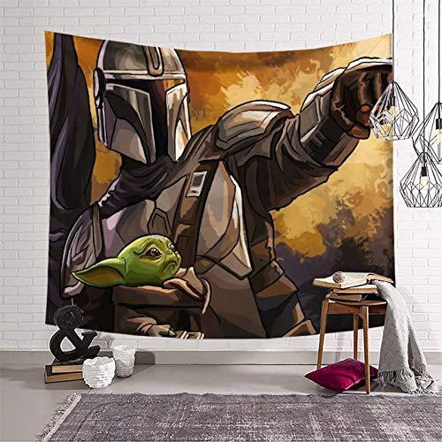 Tapiz para colgar en la pared del dormitorio, Star Wars The Mandalorian Season 2 y lindo bebé Yoda decoración de pared para dormitorio universitario, dormitorio 150 x 210 cm