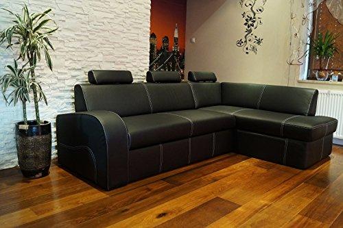 Quattro Meble Antalya II Hoekbank van echt leer, zwart, 245 x 164 cm, met slaapfunctie, bedlade en hoofdsteunen, hoekbank, echt leer, hermes nero met siernaad