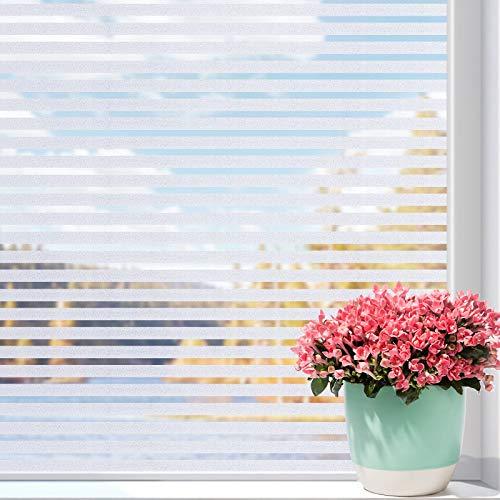 Coavas Fensterfolie Selbstklebend Streifenfolie Milchglasfolie Blickdicht Dekofolie Für Zuhause Büro Hitzeschutz 44.5 * 200cm