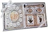 Kamelio Babyset mit Bilderrahmen Fußabdruck Handabdruck und 2 Döschen für die ersten Haare und Milchzähne