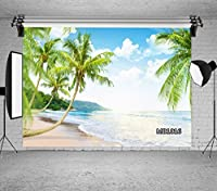 LB 写真撮影用 背景布 2.7×1.8m/9x6ft ココナツの木 砂浜 インテリア 人物/商品撮影 背景シート 撮影スタジオ用 アイロンかけ可 折り畳み可 洗濯可能 新婚撮影