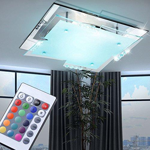 LED RGB Decken Lampe Farbwechsler Fernbedienung Chrom Glas Leuchte satiniert verspiegelt