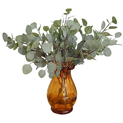 UxradG 2 Ramas de árbol Falsas, con Hojas de eucalipto Artificial, de Estilo otoñal, en Spray, para casa, Oficina, Manualidades, decoración de Fiesta, Verde, Tamaño Libre