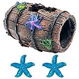 GSD Star-Fish Broken Barrel Decor Resin Betta Fish Tank Accessories Ornaments for Fish Cave Hide Tank Decorations, Broken Barrel x 1pc, Blue Star Fish Ornaments x 2pcs