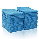 MASTERTOP Confezione da 36 Panni in Microfibra Multiuso per la Pulizia Cucina Casa Auto Vetro (Blu,35,6 * 35,6 cm)