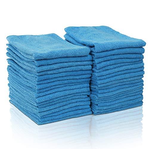 MASTERTOP Juego de 36 Paños de Microfibra Súper Absorbentes Trapos de Limpieza Multiusos para Coche Ventana Cocina (35 x 35 cm, Azul)