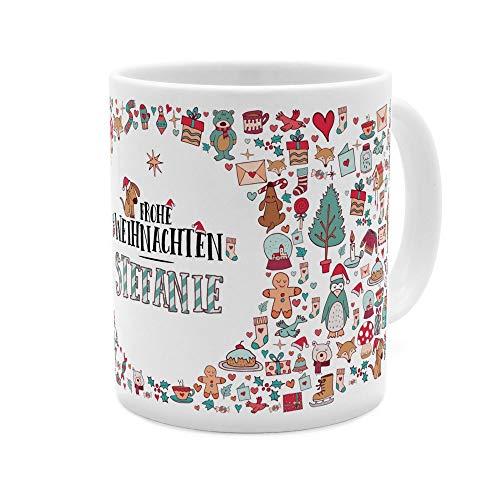 printplanet Tasse mit Namen Stefanie - Motiv Frohe Weihnachten - Namenstasse, Kaffeebecher, Mug, Becher, Kaffeetasse - Farbe Weiß