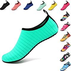 Recommended 1: CONVENIENCE - Smooth neck design prevents chafing when wearing our water shoes. It is convenient to wear and take off. Recommended 2: COMFORTABLE FIT -- Breathable and smooth fabrics with fine stretch on uppers. Like socks, flexible an...